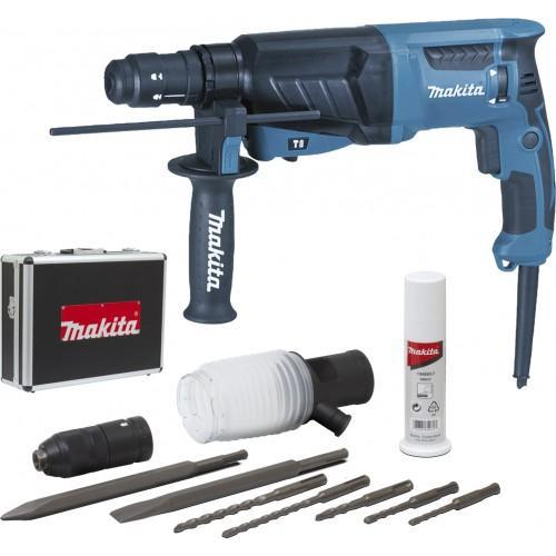 Perforateur burineur MAKITA HR2630TX4 SDS-Plus 800W 26mm avec coffret alu et accessoires