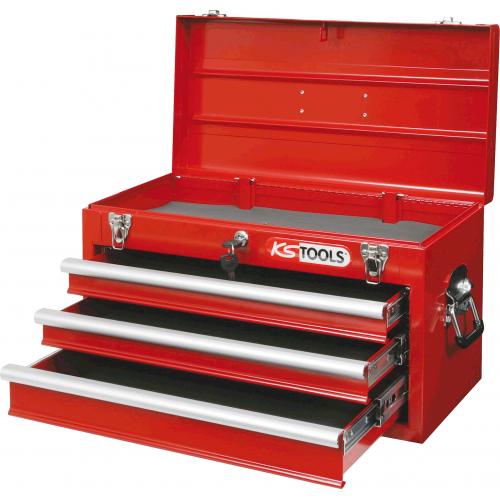 Coffre à outils vide 3 tiroirs + plateau