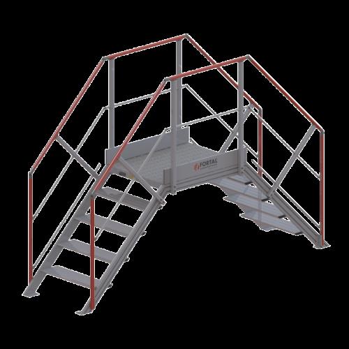 Escalier métal - double accès égal -...