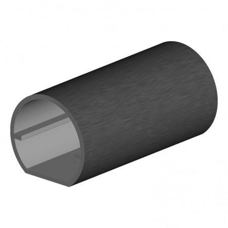 tube rond en aluminium Ø40 mm longueur 6m avec 1 méplat
