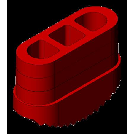 patin antidérapant 65x25 mm rouge