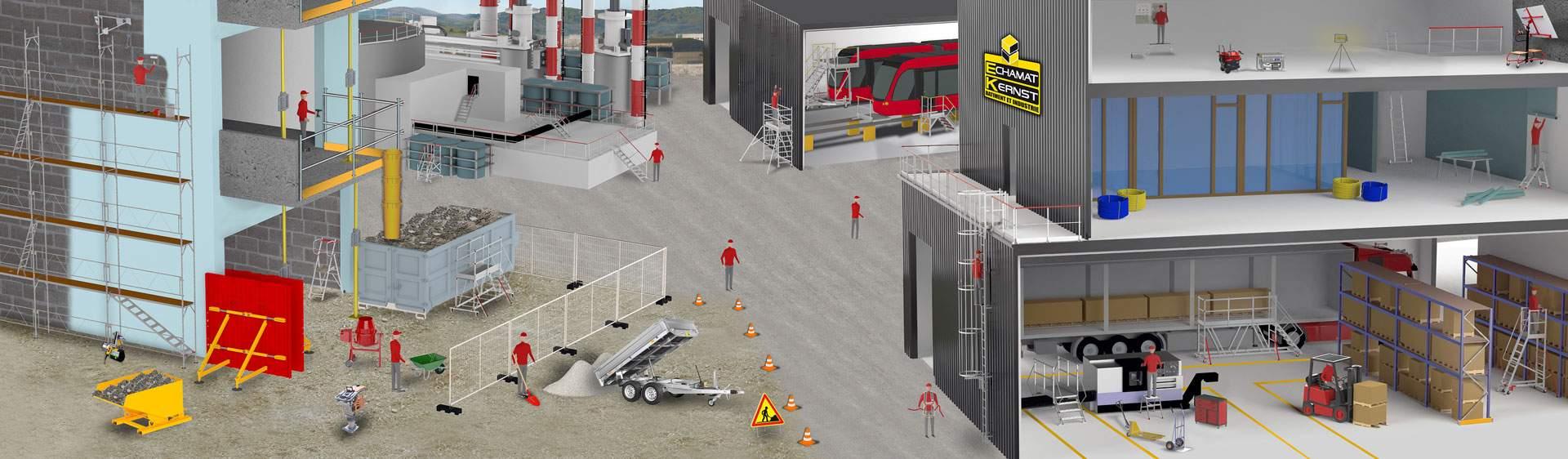 Echamat Kernst : bâtiment et industrie